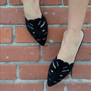 Shoes - 1 left! Soft Vegan Suede LaserCut Mule Flat